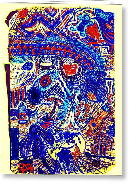 Graffiti Doodle  Greeting Card by Sheri Buchheit
