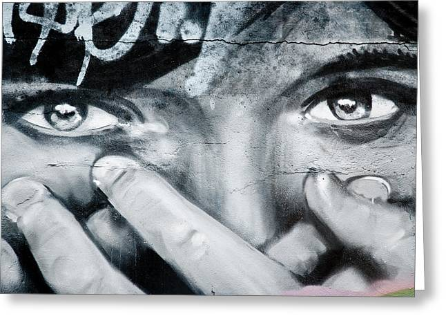 Aerosol Paintings Greeting Cards - Graffiti Eyes Greeting Card by Yurix Sardinelly