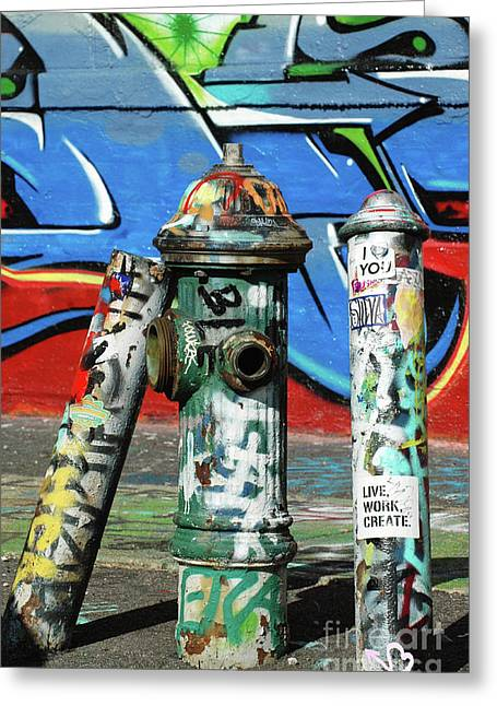 Graf Greeting Cards - Graffiti Fire on Blue Greeting Card by adSpice Studios
