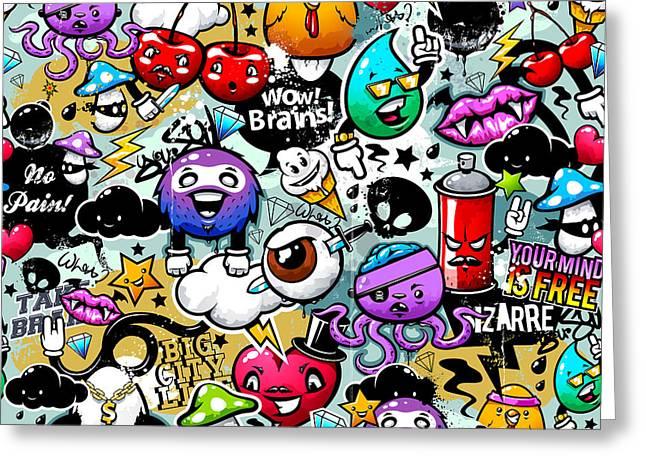 Graffiti Fun Greeting Card by Mark Ashkenazi