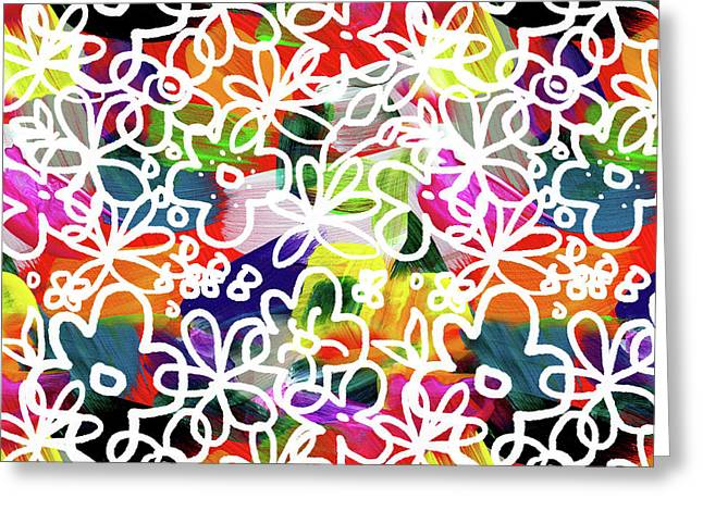 Graffiti Garden 2- Art By Linda Woods Greeting Card by Linda Woods