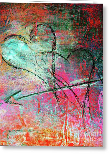 Romance Mixed Media Greeting Cards - Graffiti Hearts Greeting Card by Anahi DeCanio