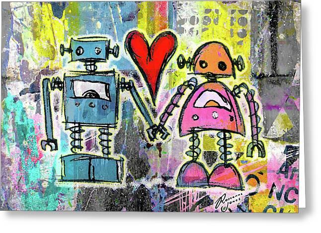 Graffiti Pop Robot Love Greeting Card by Roseanne Jones