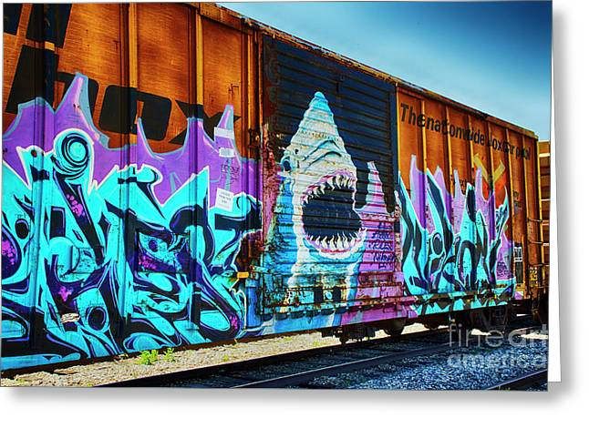 Graffiti Riding The Rails Greeting Card by Bob Christopher