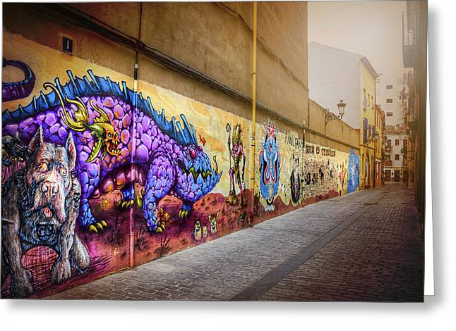 Graffiti Street In Valencia Spain  Greeting Card