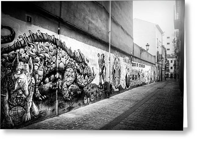 Graffiti Street Valencia Spain In Black And White  Greeting Card