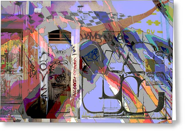 Graffitis Front Door Greeting Card by Martine Affre Eisenlohr