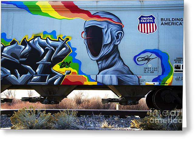 Grafitti Art Riding The Rails 2 Greeting Card by Bob Christopher