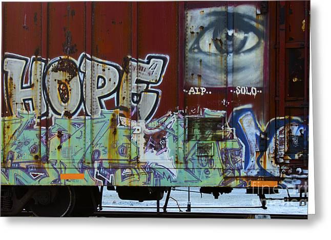 Grafitti Art Riding The Rails 6 Greeting Card