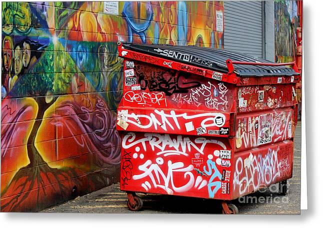 Grafitti And Trash Greeting Card by Ranjini Kandasamy
