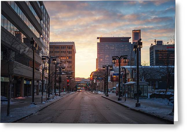 Graham Avenue Sunset Greeting Card by Bryan Scott