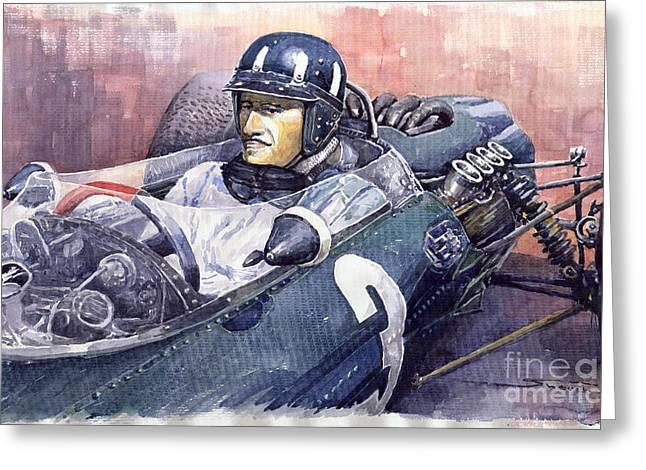 Retro Portret Greeting Cards - Graham Hill BRM P261 1965 Greeting Card by Yuriy  Shevchuk