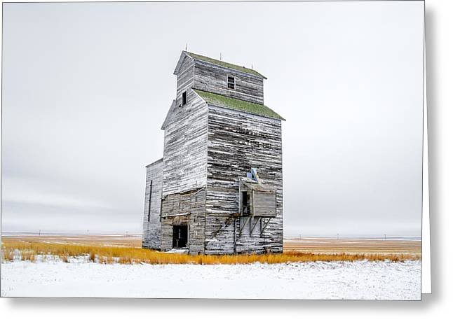 Grain Elevator On White Greeting Card by Todd Klassy