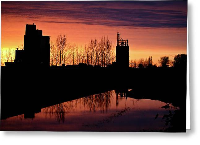 Grain Elevator Reflection Sunset Greeting Card by Mark Duffy