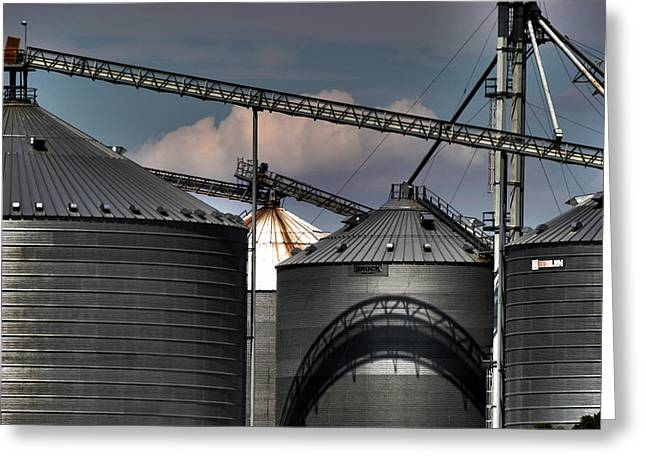 Alan Look Greeting Cards - Grain Storage Facility Greeting Card by Alan Look