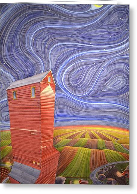 Greeting Card featuring the painting Grain Tower IIi by Scott Kirby