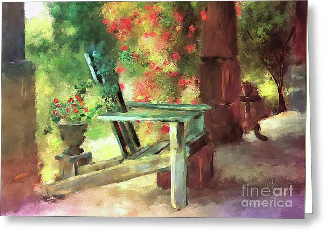 Greeting Card featuring the digital art Gramma's Front Porch by Lois Bryan