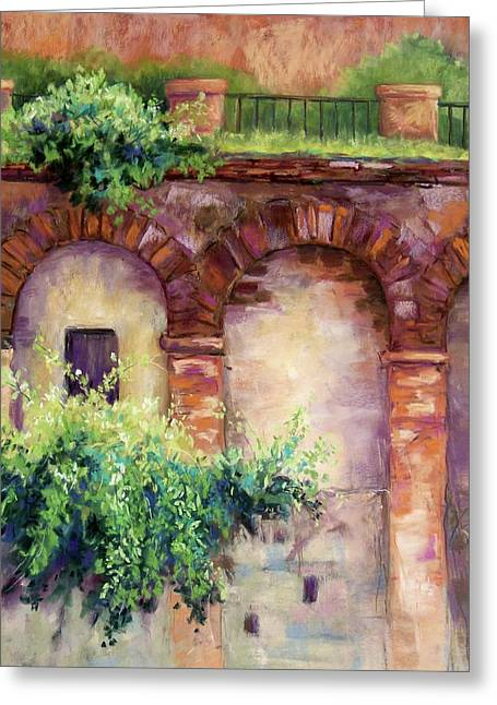 Brick Wall Pastels Greeting Cards - Granada Arches Greeting Card by Candy Mayer