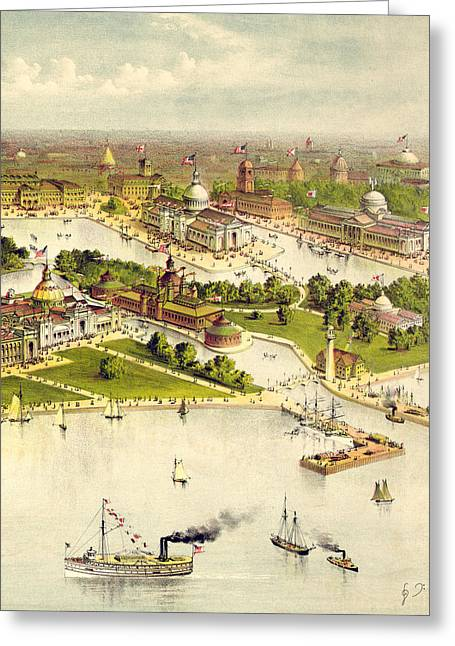 Grand Birds Eye View Of The Grounds And Buildings Of The Great Columbian Exposition At Chicago, Illi Greeting Card by Currier and Ives