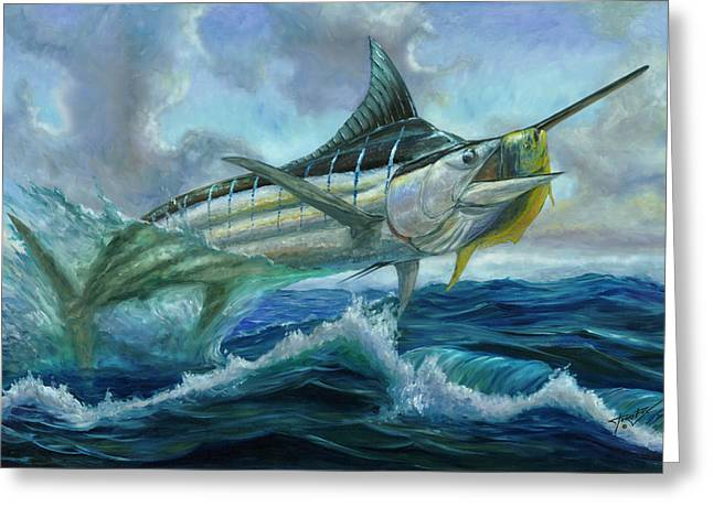 Grand Blue Marlin Jumping Eating Mahi Mahi Greeting Card