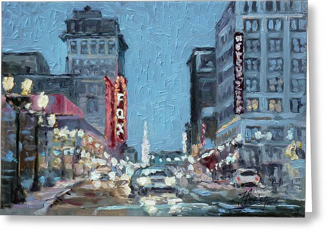 Grand Boulevard At Night, St.louis Greeting Card