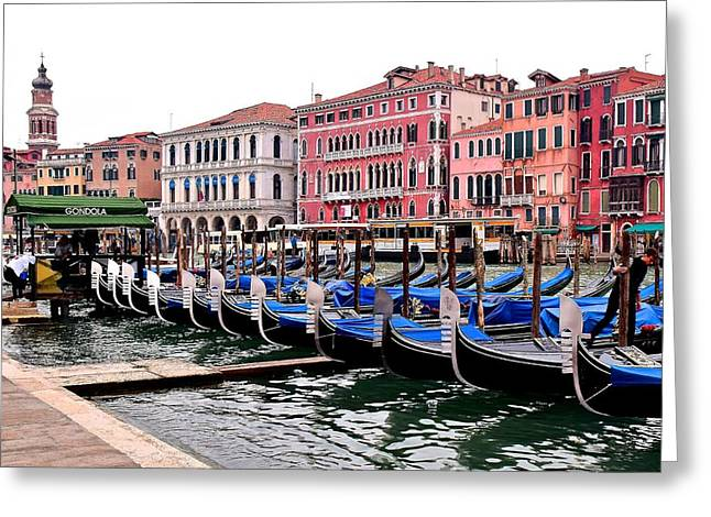 Grand Canal Gondolas Greeting Card by Frozen in Time Fine Art Photography