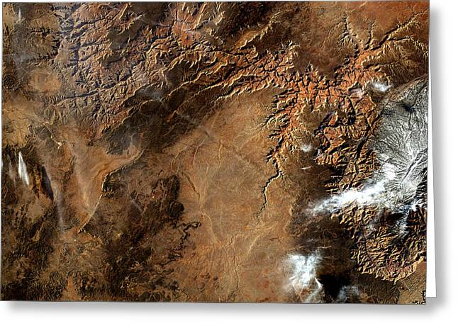 Grand Canyon From Iss Enhanced Greeting Card