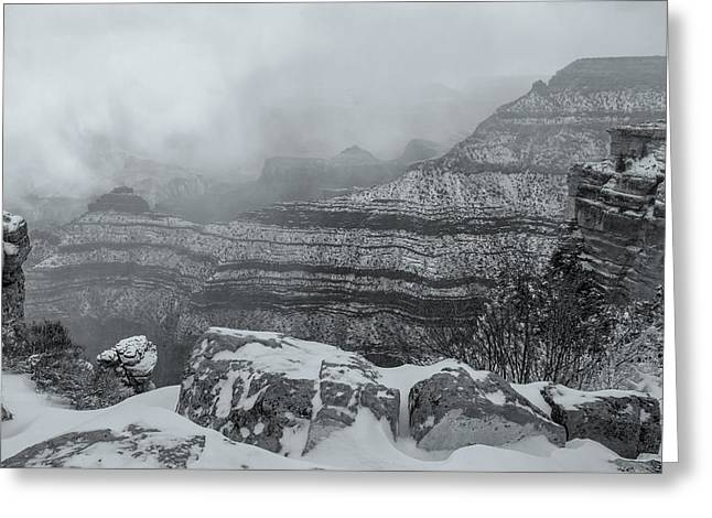 Grand Canyon In The Fog Greeting Card
