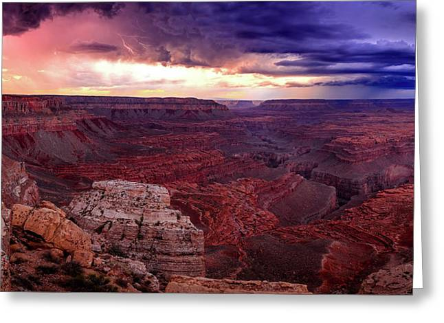 Grand Canyon Lightning Panorama Greeting Card by Johnny Adolphson