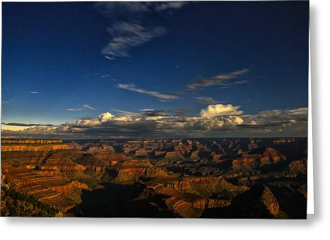 Grand Canyon Moonlight Greeting Card by James Menzies