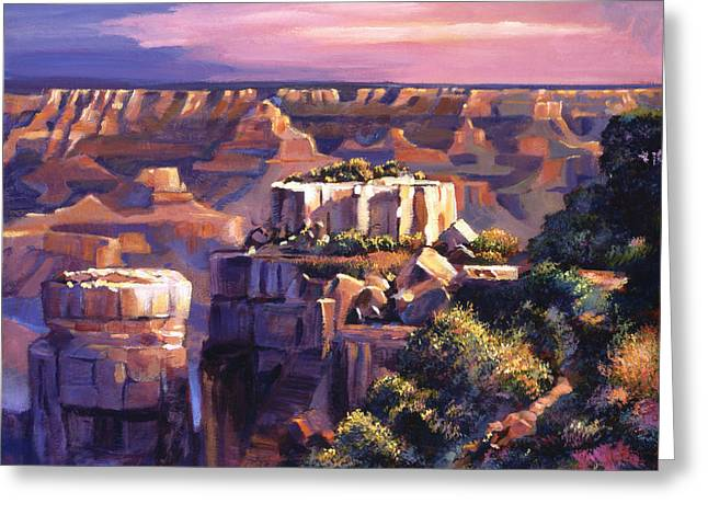Grand Canyon Morning Greeting Card by David Lloyd Glover