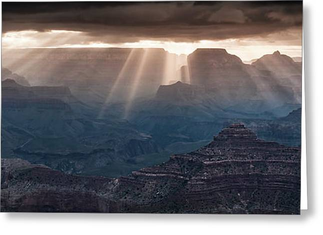 Greeting Card featuring the photograph Grand Canyon Morning Light Show Pano by William Lee