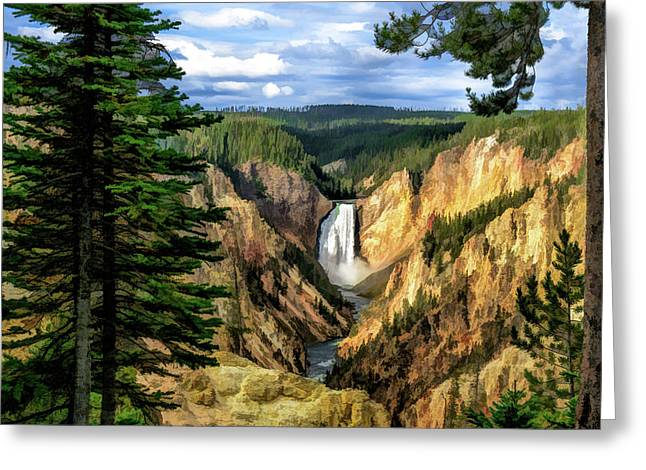 Greeting Card featuring the painting Grand Canyon Of The Yellowstone Waterfall by Christopher Arndt