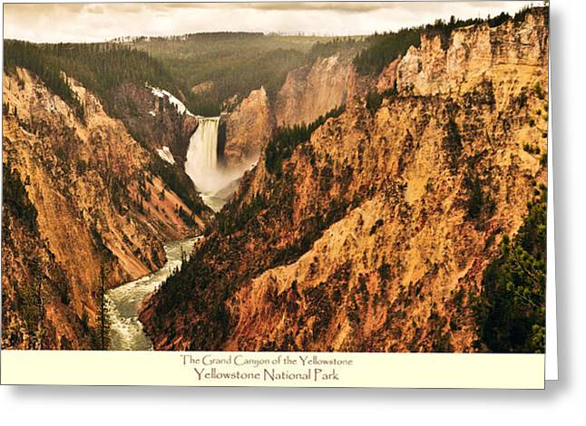 Grand Canyon Of The Yellowstone With Caption Greeting Card