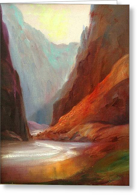 Grand Canyon Rafting Greeting Card by Sally Seago