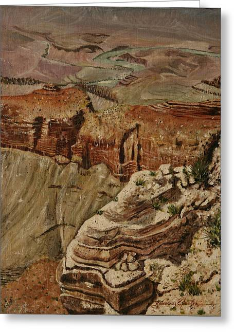 Greeting Card featuring the painting Grand Canyon by Rosencruz  Sumera
