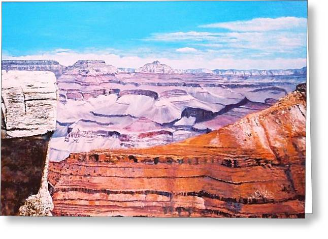 Greeting Card featuring the painting Grand Canyon Scene by M Diane Bonaparte