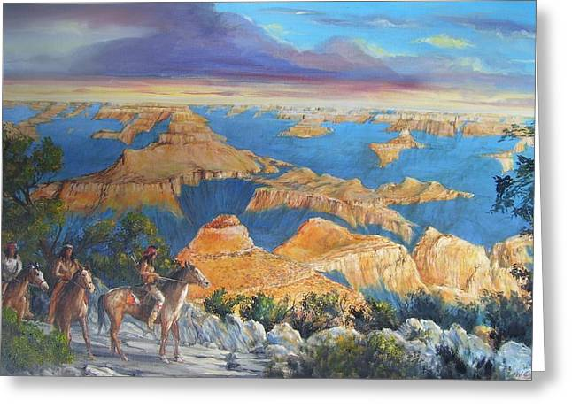 Grand Canyon Visitors At Sunrise Greeting Card