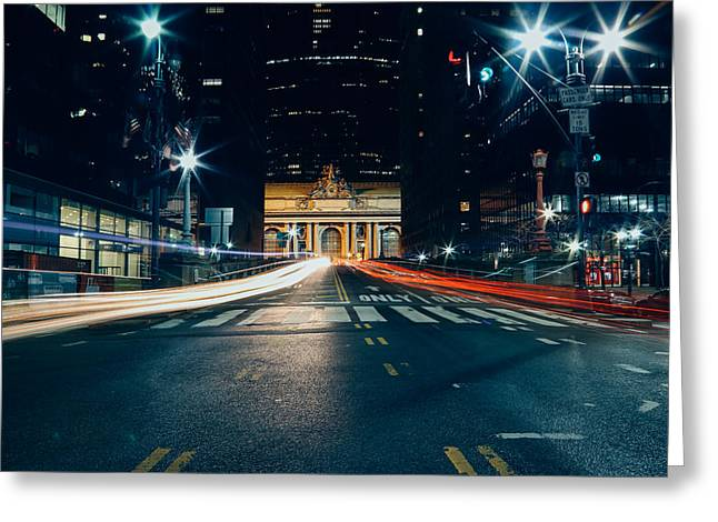 Grand Central Light Trails Greeting Card