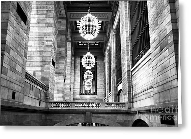 Grand Chandeliers Mono Greeting Card by John Rizzuto