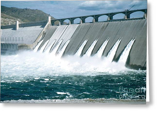 Hydroelectric Greeting Cards - Grand Coulee Dam Greeting Card by Photo Researchers, Inc.