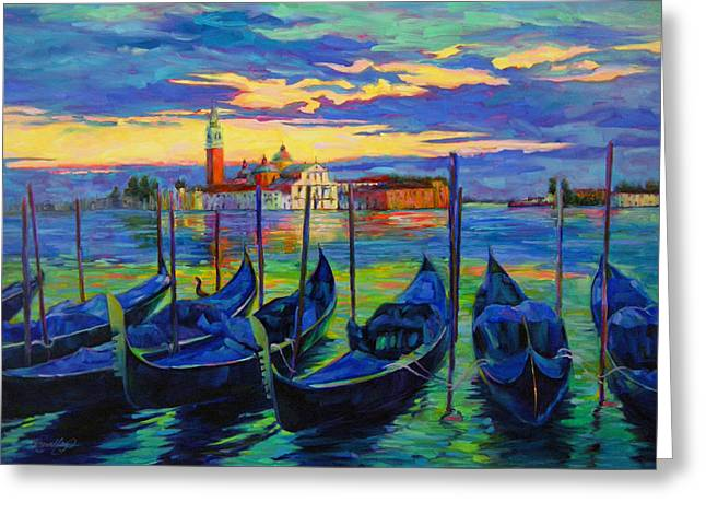 Greeting Card featuring the painting Grand Finale In Venice by Chris Brandley