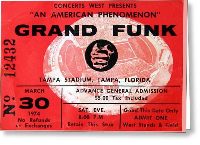 Grand Funk 1974 Concert Ticket Greeting Card by David Lee Thompson