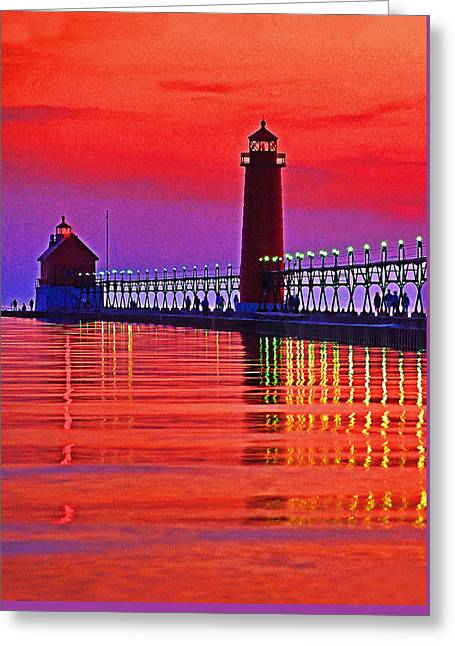 Grand Haven Lighthouse Greeting Card by Dennis Cox