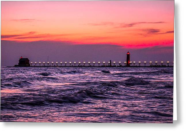 Grand Haven Lighthouse Great Lakes Michigan Greeting Card by Art Spectrum