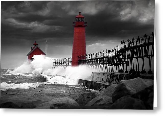 Grand Haven Lighthouse In A Rain Storm Greeting Card