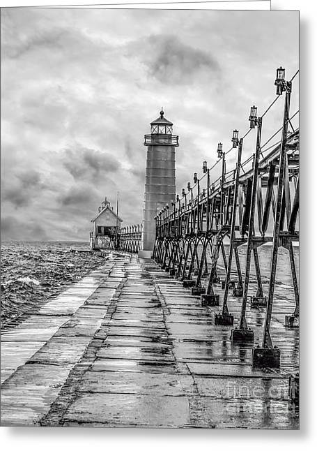 Grand Haven Lighthouse - Monochome Greeting Card