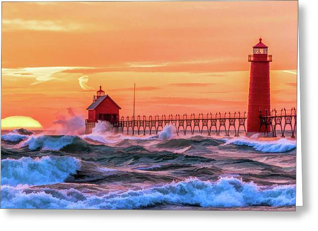 Greeting Card featuring the painting Grand Haven Lighthouses by Christopher Arndt