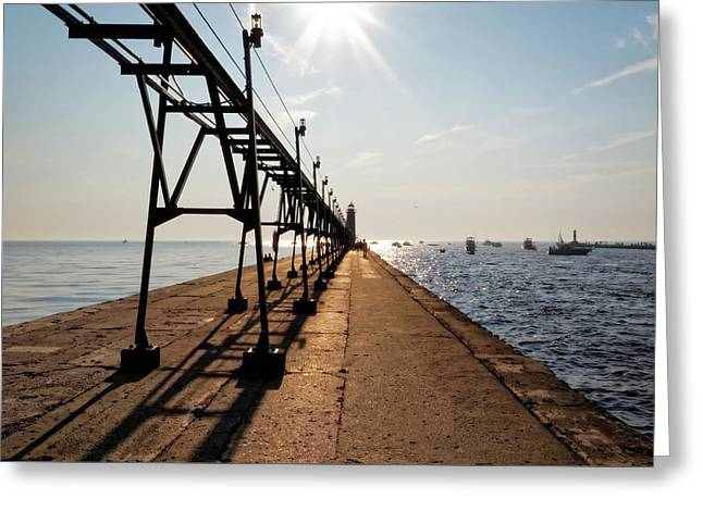 Greeting Card featuring the photograph Grand Haven Pier by Lars Lentz