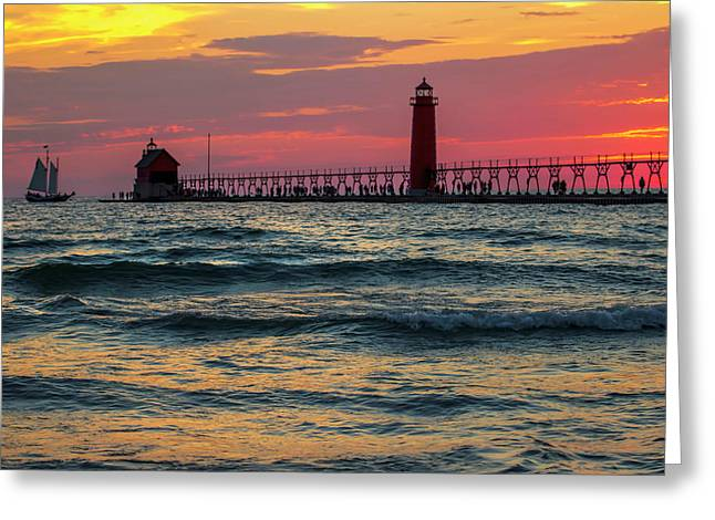 Grand Haven Pier Sail Greeting Card by Pat Cook